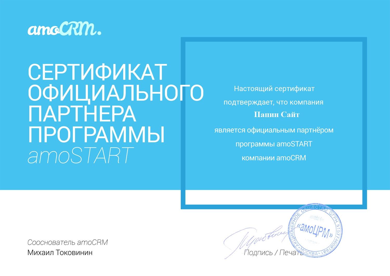 внедрение настройка amocrm амосрм студия папин сайт